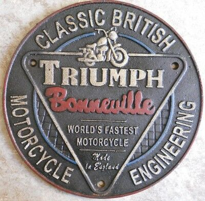 Triumph Motorcycle Cast Sign Classic British Motorcycle Engineering