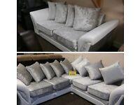 Crushed velvet corner sofa or 3 + 2 sofa suites set