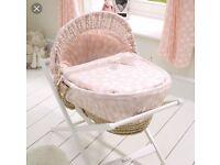 Mamas and papas pink lemonade Moses basket