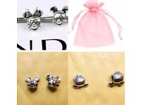 Minnie and Mickey sterling silver charms - New