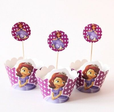 Sofia The First Cupcake Toppers (24pcs Set Sofia The First (12)Cupcake Wrappers And (12)Toppers Party)