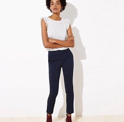 LOFT Petite Velvet Dot Skinny Ankle Pants in Marisa Fit - Regal Navy - Size 00P