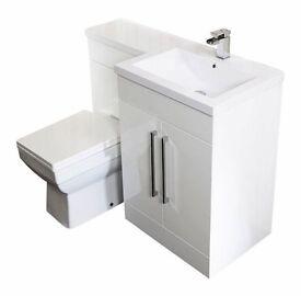 L shape vanity unit with basin