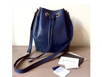 Authentic Pre-Owned Gucci Navy Bucket Bag Crossbody Diamond Pattern