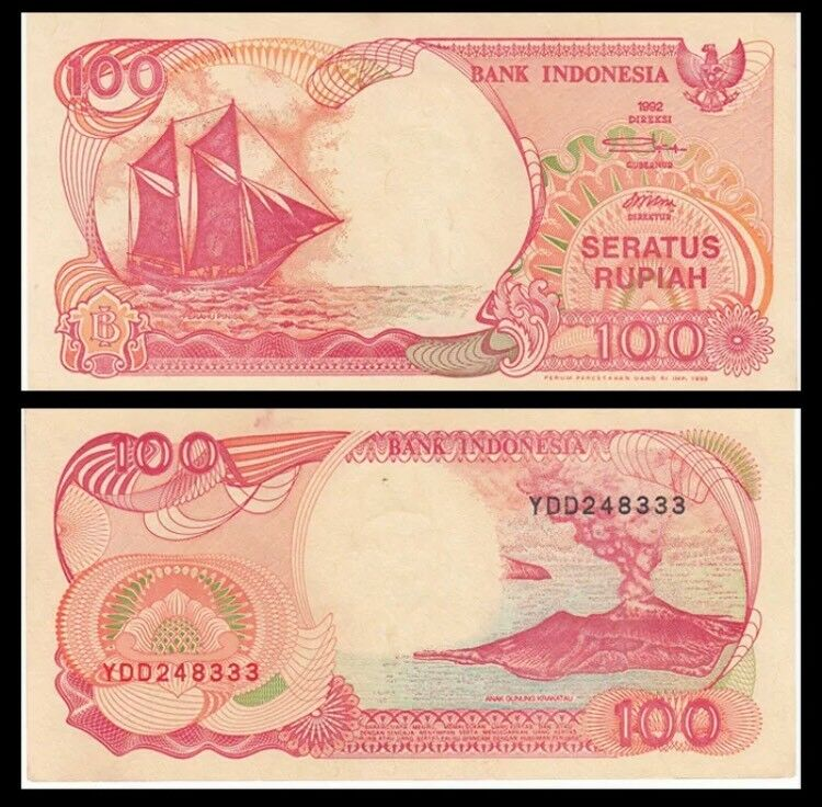 INDONESIA 100 Rupiah, 1992, P-127, Ship, Volcano, UNC World Currency