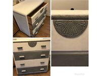 Upcycled shabby chic grey and white chest of drawers pick up bishopBriggs