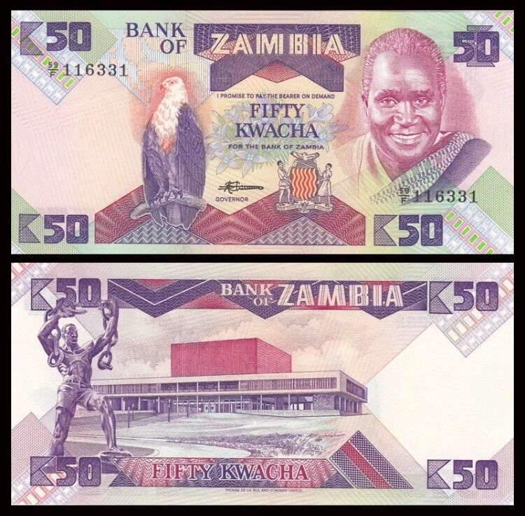 ZAMBIA 50 Kwacha, 1986, P-28, President Kaunda, Eagle/RG1, UNC World Currency