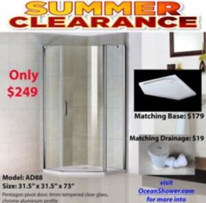 One stop for Tempered Glass shower door+Tray Base+tDrain