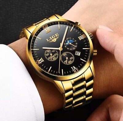 Relogio Masculino LIGE Gold Mens Watches Top Brand Luxury Stainless Steel  Watch