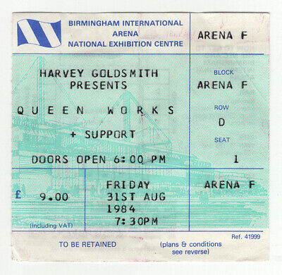 Queen Vintage Ticket  Works Tour Birmingham 1984 segunda mano  Embacar hacia Spain