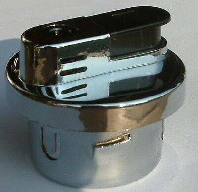 Gas Feuerzeug Tischfeuerzeug Einsatz silber Chrom poliert rund 5,0 x 4,2 cm NEU!