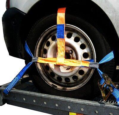 4 x Spanngurt Zurrgurt Radsicherung AUTO TRANSPORT PKW KFZ Trailer Autoanhänger