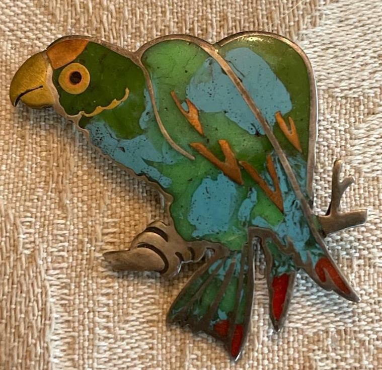 Vintage Unmarked Sterling Silver Inlaid Turquoise Coral Parrot Brooch Pin