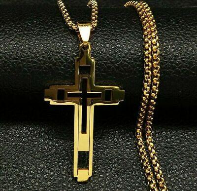 Kreuz Christian Edelstahl Frauen Männer Anhänger Halskette Kette