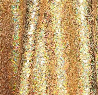 Gold Iridescent Full Sequin Fabric for Dress, Gold Hologram Sequins by the Yard