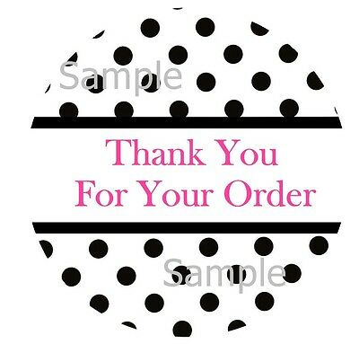 Thank You Black Polka Dots 2  1 Inch Sticker Labels