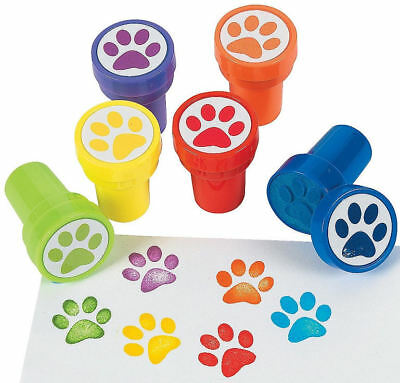 12 Paw Print Stampers Stamps Birthday Party Favors Prizes Dog Cat - Cat Birthday Party