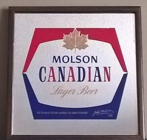 Vintage Molson Canadian Lager Beer Mirror Bar Sign
