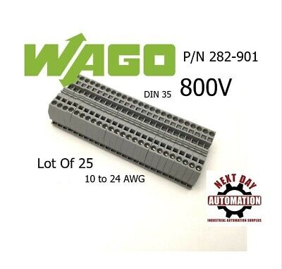 Lot Of 25 Wago 282-901 2 Conductor Passthrough Terminal Block 800v 24-10awg