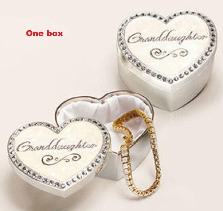 Trinket Box Granddaughter Dozens of Sparkling Crystals Velour-like Lining Gift Boxes, Jars & Tins