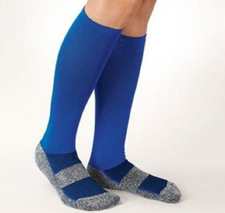 Cooling Compression Socks Blue Reinforced Arch And Padded Foot Bed Circulation Basketball