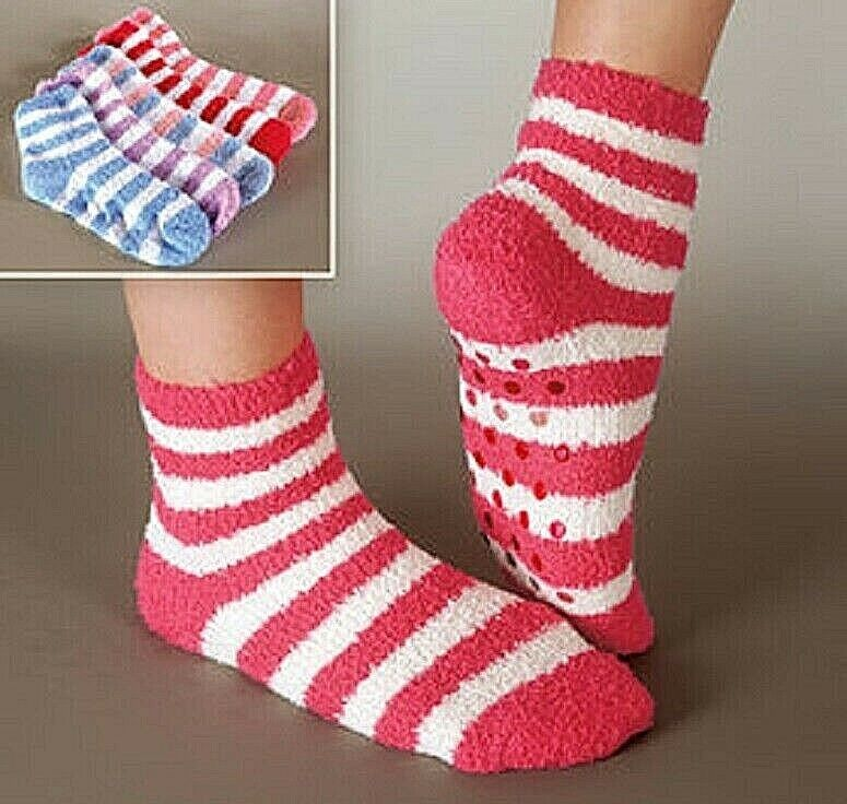 Gripper Socks – 5 Pack Warm Socks Non Skid Bottoms Safely Walk Winter socks NEW Clothing, Shoes & Accessories
