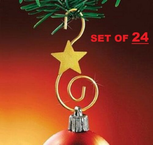 Gold Swirl Metal Christmas Ornament Hooks 24 Piece Set 24 Stylish Star Strong