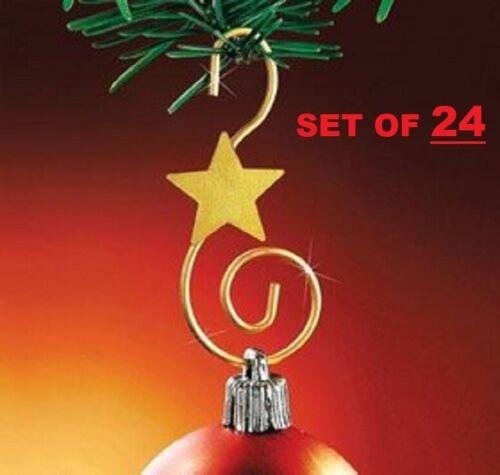 Gold Swirl Metal Christmas Ornament Hooks 24 Piece Set 24 Stylish Star Strong