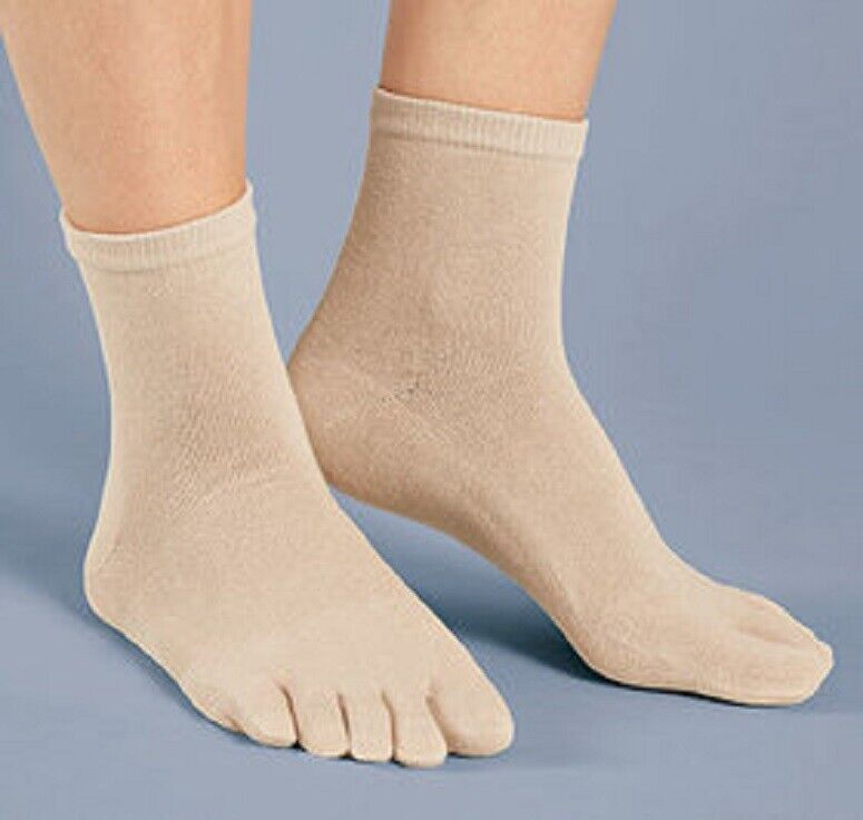 Women's Gel Cushioned Toe Socks Ankle High Gel-lined Heel Comfy Separate Toes Clothing, Shoes & Accessories