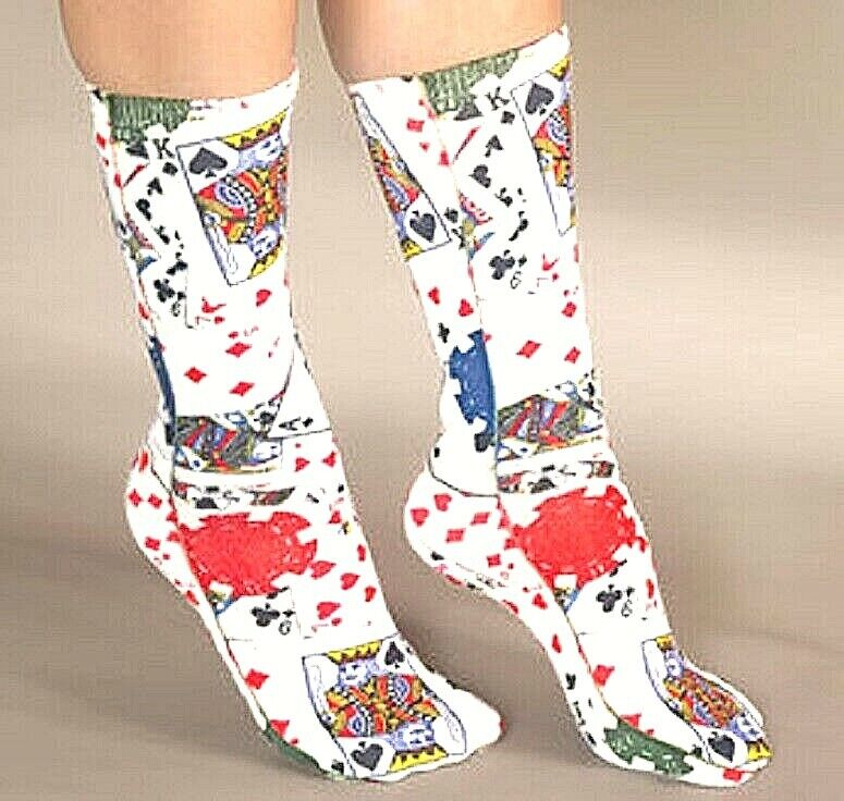 Playing Card Socks Casino Bridge Poker Crew Comfy Quality Unisex Made in USA New Clothing, Shoes & Accessories