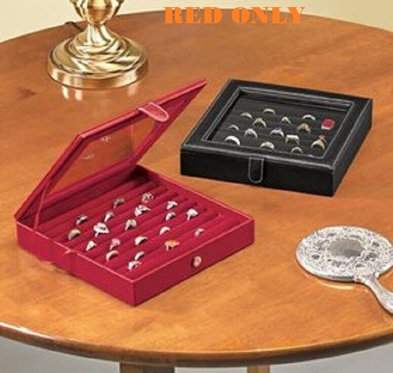 Ring Box Red Fits 100 Rings Stylish Leather Look Slim Design Secure Magnetic RED Jewelry & Watches
