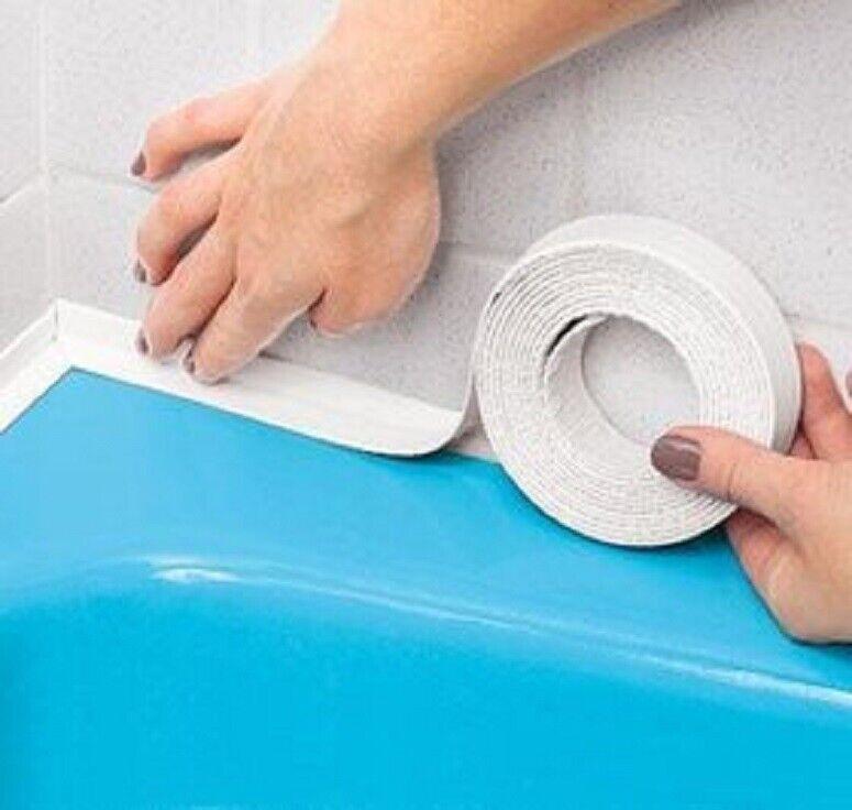 Caulktape Press On Seal Tub Sink Counter Mildew-resistant 11′ FT silicone caulk Bath