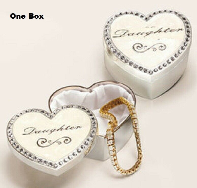 Trinket Box Daughter Dozens of Sparkling Crystals Velour-like Lining Gift NEW Boxes, Jars & Tins