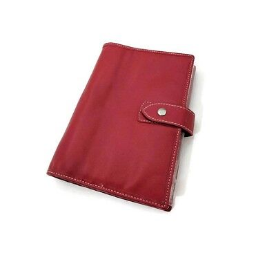 6 Ring A6 Size Personal Genuine Leather Planner Agenda Medium Red Asian Vintage