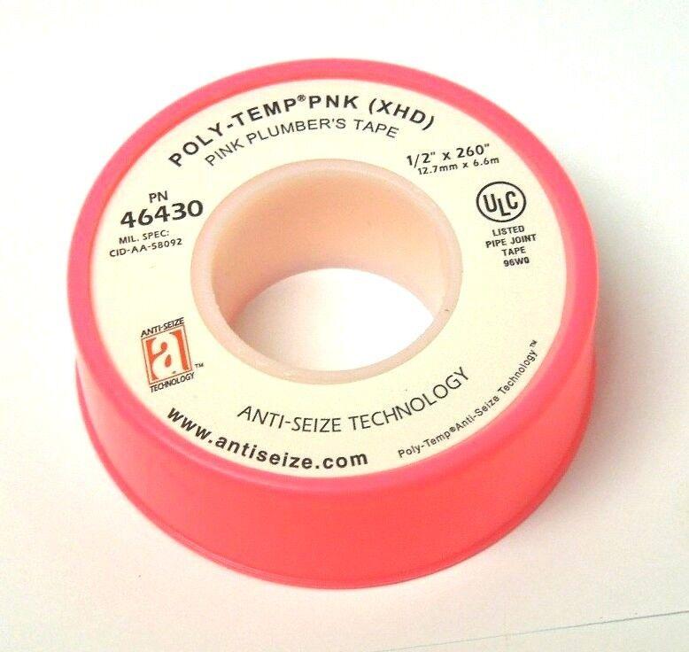 "Anti-Seize 46430 POLY-TEMP PNK (XHD) Pink Plumbers PTFE Tape 1/2"" X 260"" 058ER05"