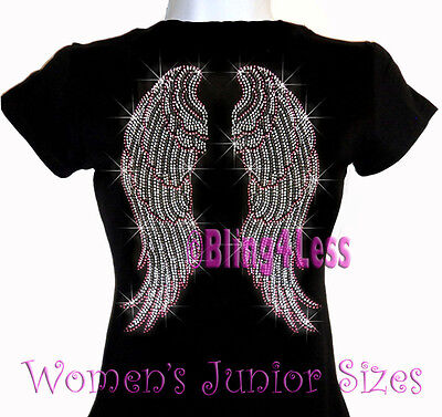 Large PINK Angel Wings - Iron On Rhinestone T-Shirt - Bling Top - Breast Cancer