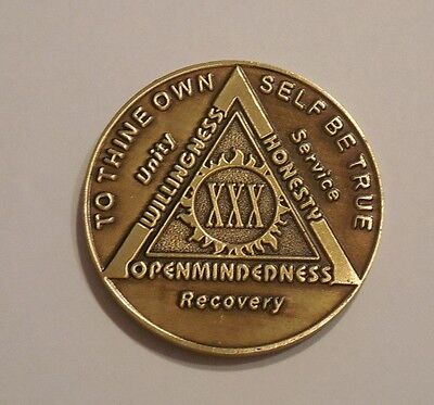 Used, aa bronze alcoholics anonymous 30 year sobriety chip coin token medallion for sale  Philadelphia