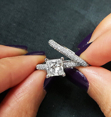 2.30 Ct Princess Cut Diamond Micro Pave Engagement Ring Set H,VVS1 GIA  WG 14K