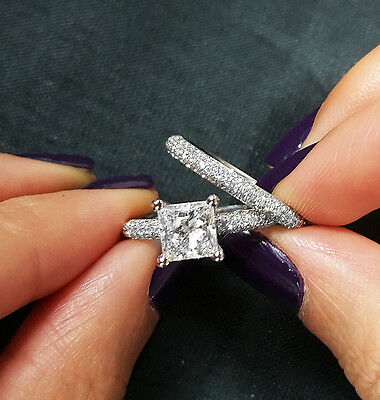 2.30 Ct Princess Cut Diamond Micro Pave Round Cut Bridal Ring Set  H,SI1 GIA 14K 1