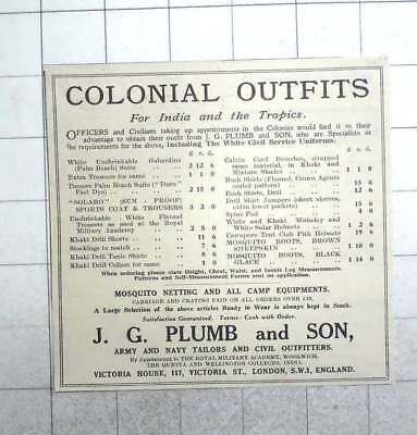 1926 Colonial Outfits For India And The Tropics, J G Plumb - Colonial Outfits