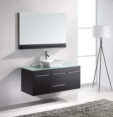 """Marsala 48"""" Single Bathroom Vanity Cabinet ESPRESSO/Vessel/Chrome Faucet/Mirror"""