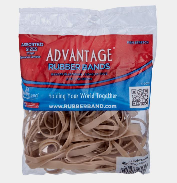 Rubber Bands Asst 2.0z, PartNo 2613A, by Alliance Rubber Co,