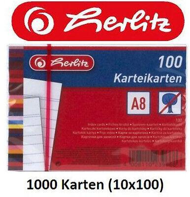 1000 Karteikarten DIN A8 weiß, beidseitig liniert, Karteikarte für Karteikästen