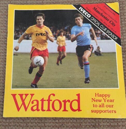 Watford Vs Manchester City Football Programme. Div 1 1982/83 Season