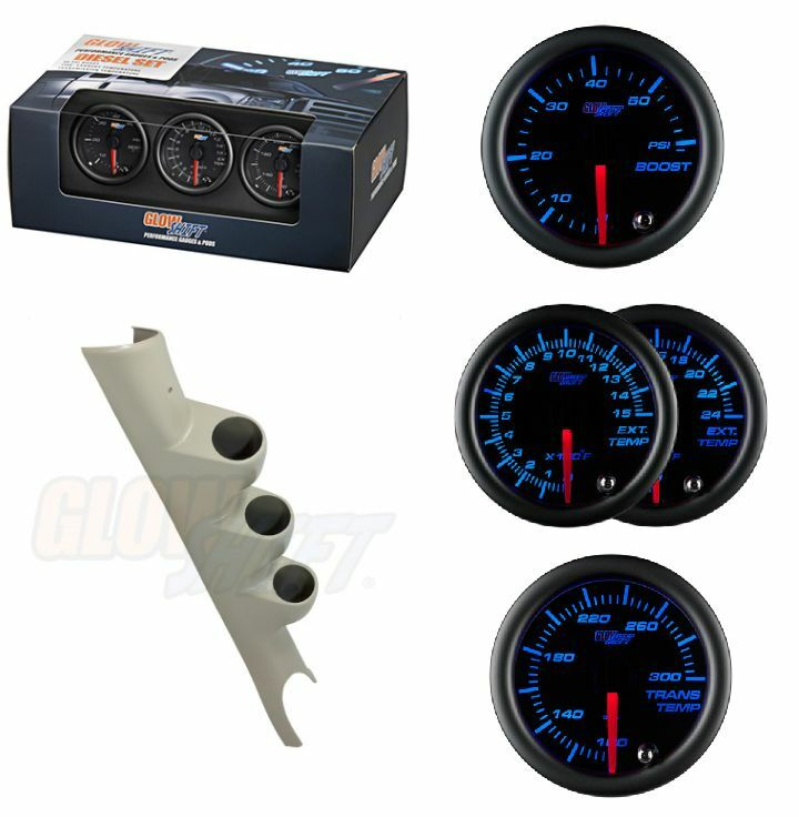 GSBlk 7Color Boost,TransTemp&2400F EGT Gauges& Gray Pod for 03-09 Dodge Cummins