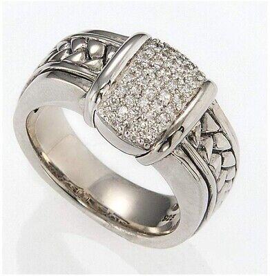 ❤️ SCOTT KAY Silver & Diamond Cluster EQUESTRIAN Woman's 925 Basketweave Ring 7 (Silver Diamond Basketweave)