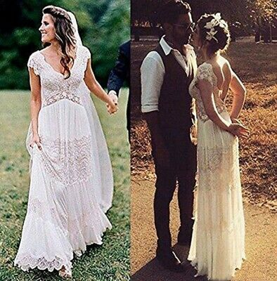 Bohemian Vintage Lace Wedding Dress Cap Sleeve A-Line Silhouette Bridal Gown