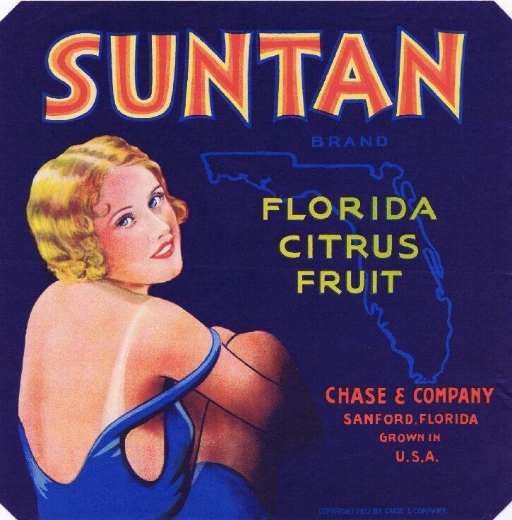 Sanford Florida Suntan Orange Citrus Fruit Crate Label Art Print