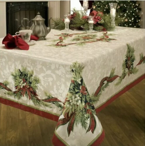 Christmas Tablecloth Ribbons Engineered Printed Fabric