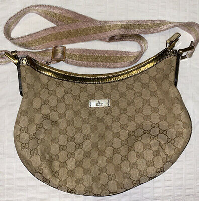 Vintage Gucci Monogram Crossbody Sling Bag Purse AUTHENTIC
